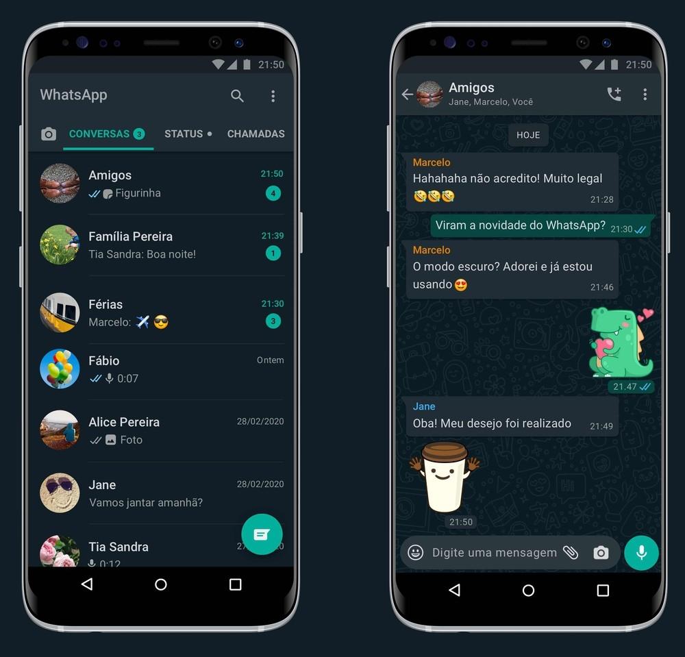 WhatsApp lança modo escuro para Android e iPhone (iOS). Saiba como ativar.